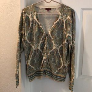 XL button up v neck cardigan paisley pattern